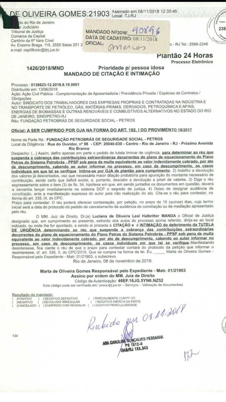 PETROS efetua descontos do equacionamento, apesar da ordem judicial notificacao
